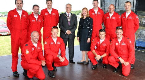 The Red Arrows attend the Biggin Hill Festival of Flight