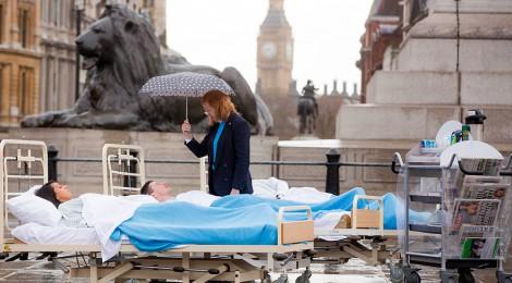 Trafalgar Square transformed into mock hospital ward for NHS Change Day 2014